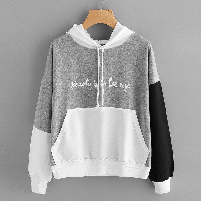 02c9cb390bfe Womens Sweatshirts Hoodies Letters Pocket Tracksuit Women College School  Student Pullover Hoodie Patchwork Casaco Com Capuz  360
