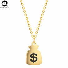 QIMING 2017 Money Bag Purse Wallet Necklace Women Silver Gold Vintage Men Jewelry Birthday Valentine's Day Gift Neckla(Hong Kong,China)