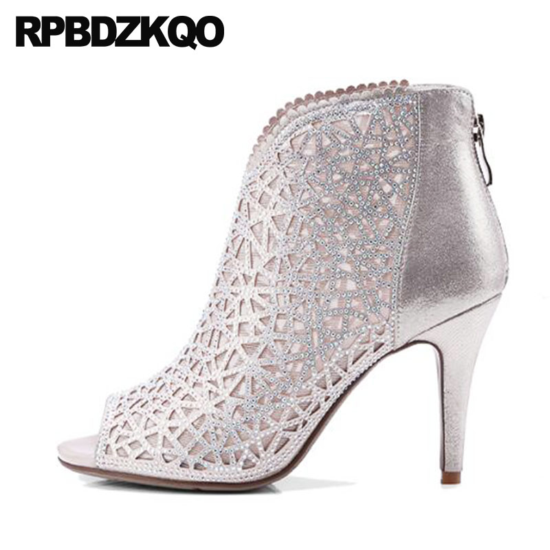 Luxury Brand Shoes Women Peep Toe Stiletto Short High Quality Designer Cut Out Sandals Rhinestone Booties Ankle 2018 Heel Boots