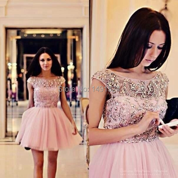 2015 New Pink Organza  Prom   Dress Short Mini Beads Crystal Cap Sleeve  Women Sexy Backless party Cocktail Dress
