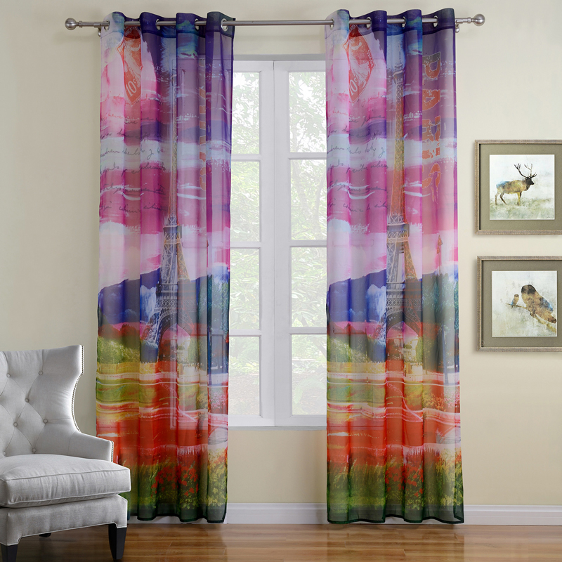 Printed Scenic Curtains for Living Room Colorful Kids Curtains Sheer Curtain  Window Screening 1Piece Free Shipping-in Curtains from Home & Garden on ...
