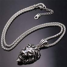 Black Lion Charms Necklace Rock Punk Style Men/Women Retro Jewelry Gold Color Stainless Steel Chain Necklace & Pendant P807