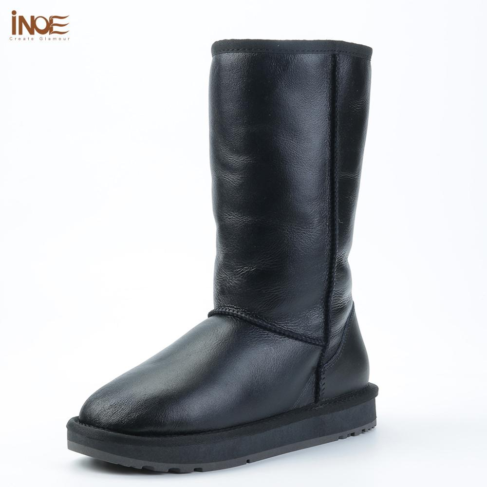 INOE Classic Women Waterproof Knee High Sheepskin Leather Winter Boots Shearling Wool Fur Lined Snow Boots Keep Warm Shoes Black