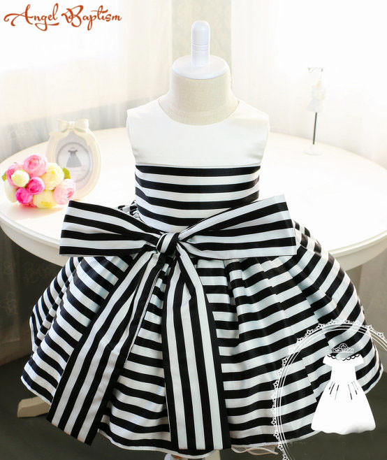 Newborn Girl Dress with Black and White Stripes Baby Tutu 1st Birthday Newborn Tutu Toddler Girl Dress Birthday Dress Baby cupcake zebra print lace petti rompers tutu dress with headband toddler birthday outfits vestido bebe newborn baby girl clothes