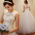 Cheap Korean Simple White Lace Wedding Dress 2016 Plus Size Vintage Belt Bridal Ball Gown Vestidos de Novia Dress Free Shipping