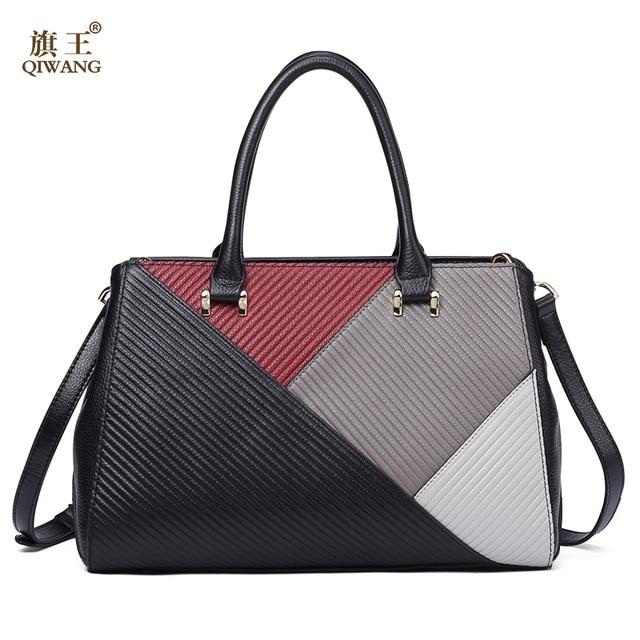 QIWANG Brand Genuine Leather Women Messenger Bag Patchwork Handmade Leather Shoulder  Bag Women Crossbody Bag Elegant 67ecccc162d1a