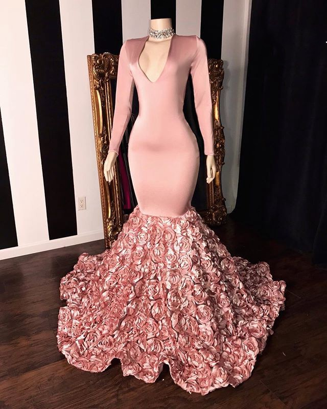 Sexy African Pink Mermaid   Prom     Dresses   2019 3D Flowers Train V Neck Long Sleeve Elegant Floral   Prom   Party Gowns For Black Girls