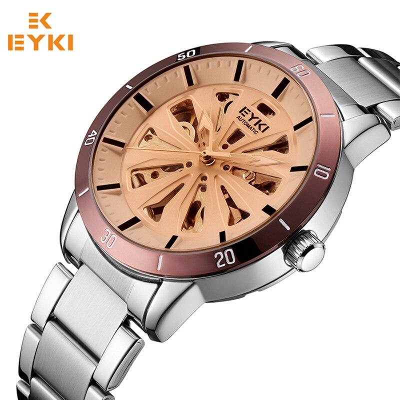 EYKI Mens Watches Top Brand Luxury Automatic Mechanical Self-wind Stereoscopic Skeleton Watch Men Stainless Steel Clock Male стоимость