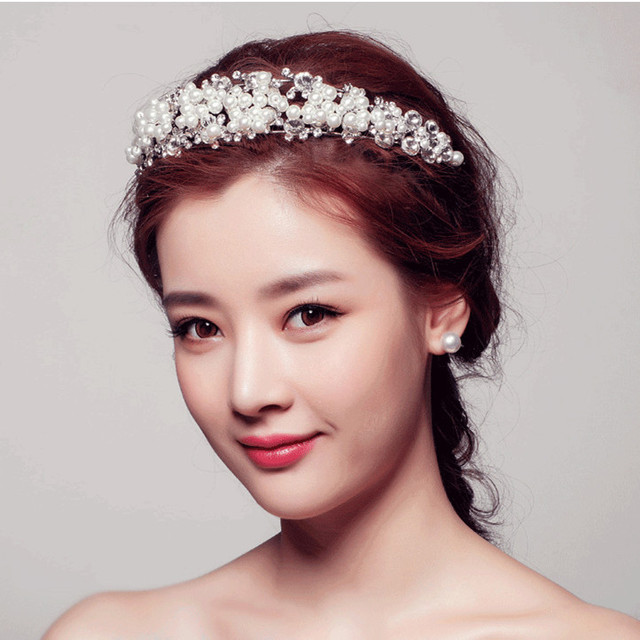 New Arrival Korean Bridal Hair Accessories Wedding Jewelry Luxurious Rhinestone Pearl Headbands