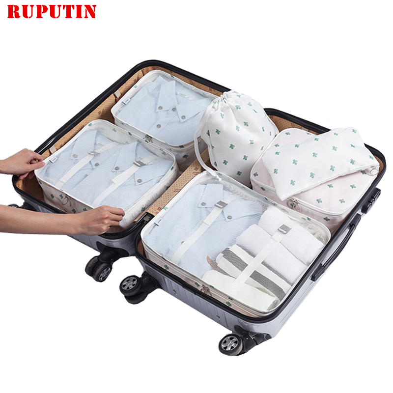 RUPUTIN New 6PCS/Set High Quality Cloth Waterproof Travel Mesh Bag In Bag Luggage Organizer Packing Cube For Travel Accessories