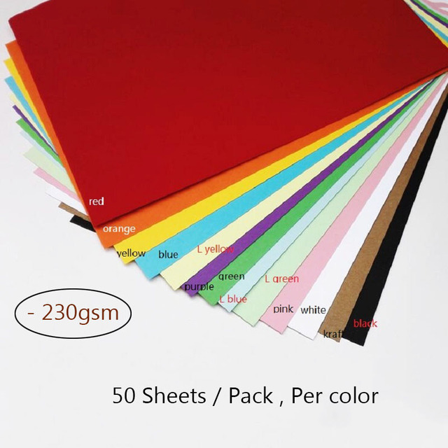 50 Sheets A4 Colorful Craft Paper 230gsm Kraft Paper Thicken