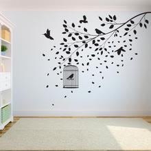 Tree Wall Decal Sticker Bedroom tree of life roots birds flying away home decor Leaves falling A7-004 falling away