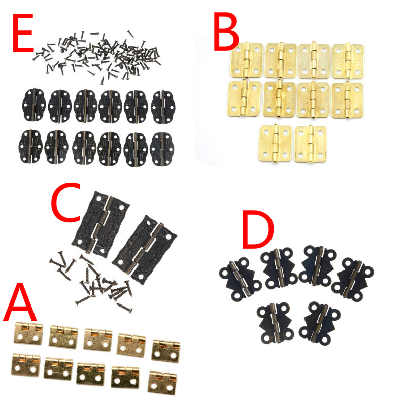 2-12Pcs 10*8mm Brass Mini Hinge Decor Door Hinges Wooden Gift Jewelry Box Hinge Fittings For Furniture Hardware With Screws