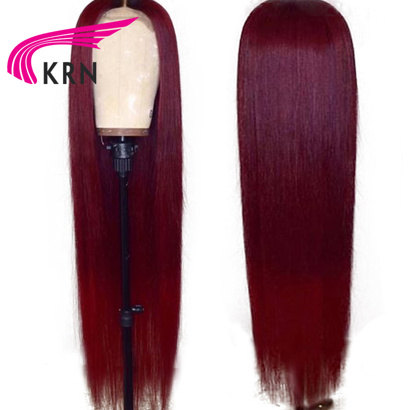KRN Burgundy Straight Pre Plucked Lace Front Human Hair Wigs With Baby Hair Ombre Remy Hair