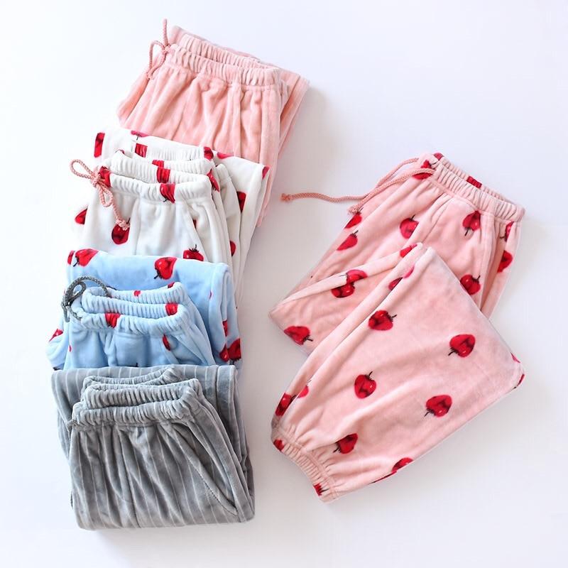 Autumn Winter Flannel Pyjama Trousers Women Long Sleep Bottoms Pajama Pants Lounge Wear Women's Pajamas With Pants