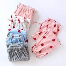 2018 Autumn Winter New Flannel Pyjama Trousers Women Long Sleep Bottoms Pajama P