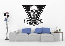 Tattoo Salon Vinyl Wall Sticker Personality Skull Logo Tattoo Studio Poster Shop Signboard Decorative Wall Art Sticker 2WS08