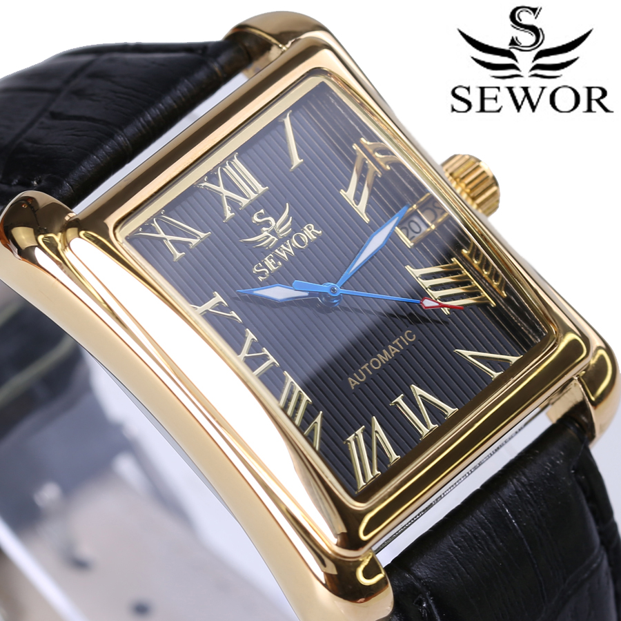 Nye Luksus Brand Herreure Vintage Automatic Mechanical Watch Rektangel Kalenderur Militære WristWatches Leather Strap
