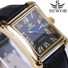Nouvelle marque de luxe hommes montres Vintage automatique mécanique montre Rectangle calendrier horloge militaire montres bracelet en cuir