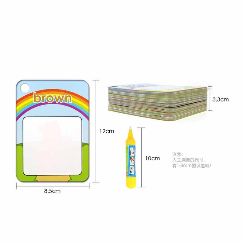 3 أنواع قابلة لإعادة الاستخدام المياه رسم بطاقة التعلم و 1 قلم سحري التعرف على اللوحة مجلس ألعاب تعليمية للطفل تعلم اللغة الإنجليزية