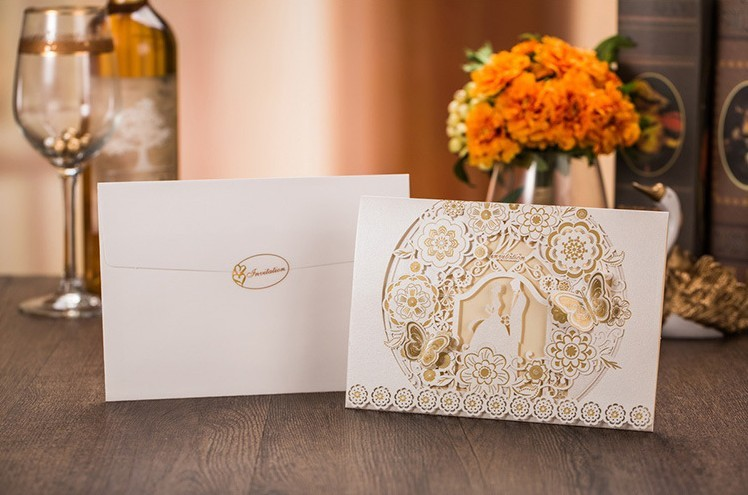 Wedding Invitations 2016 Romantic Couple Laser Cut Flower Butterfly Invitation  Cards In White Gold Color+Free Printing+Envelope In Cards U0026 Invitations  From ...