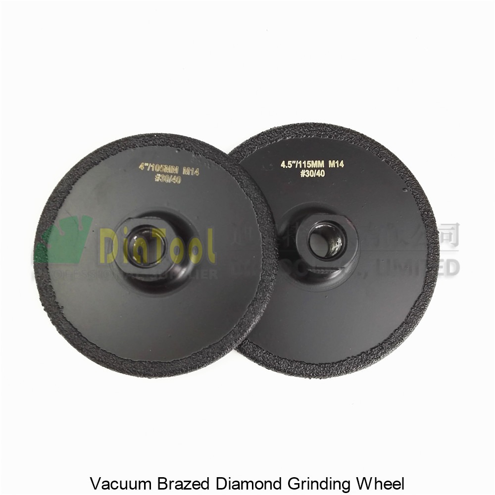 DIATOOL 2 pièces (105 MM + 115 MM) meule de meulage plate diamantée brasée sous vide M14 grain #30 disque de meuleuse enduit
