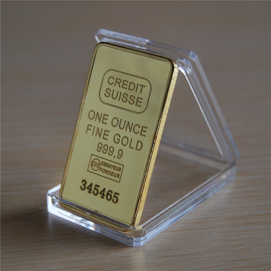 1 oz CREDIT SUISSE 24K .999 Gold Clad Bullion Bar Ingot EXTREMELY RARE Free shipping