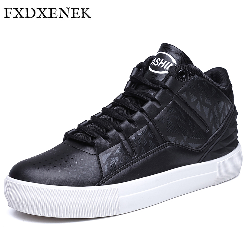 FXDXENEK Men Casual Shoes Spring Autumn New Lace-up Style Fashion Trend Pu Leather Flat Breathable Rubber High Top Shoe Man 2016 spring autumn europe china style new tide men canvas casual shoes blue black letters print sewing elastic band flat shoes