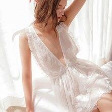 Munllure damskie głębokie V koszula nocna haftowana biała przejrzysta koronka kobiety bielizna nocna kobiety seksowny biustonosz Linger