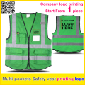 Custom printing company  logo Multi pockets Safety reflective green vest work vest  traffic uniform  free shipping