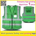 Logotipo da empresa de impressão personalizada Multi bolsos de Segurança de tráfego reflexivo colete verde colete de trabalho uniforme frete grátis