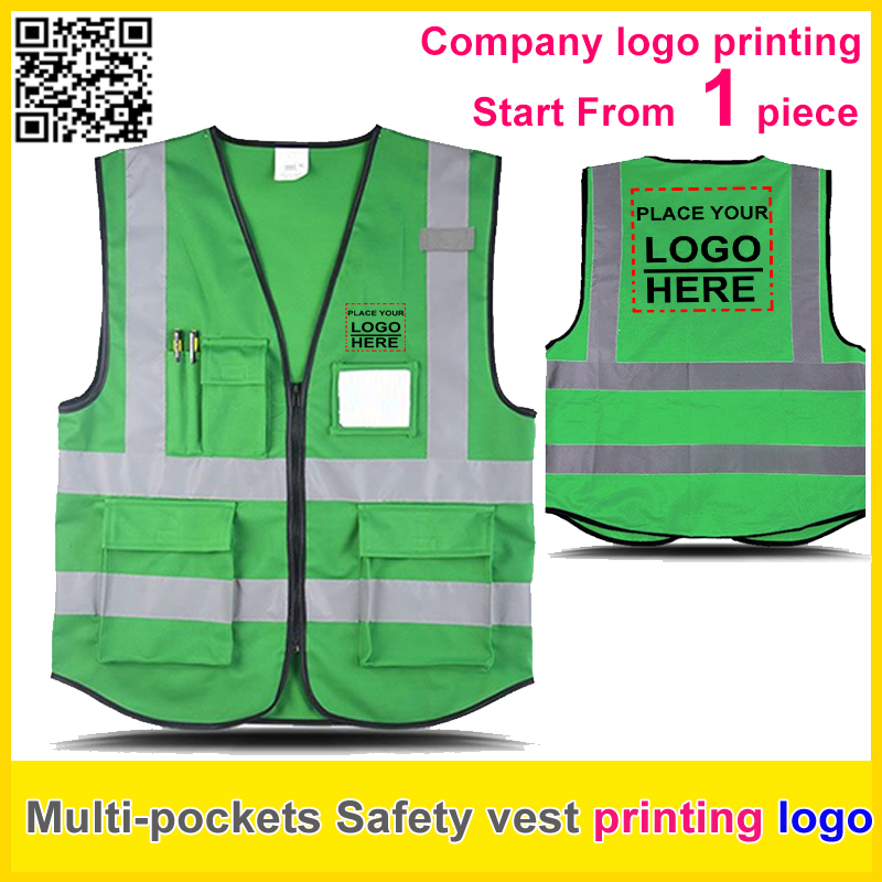 SPARDWEAR Custom printing company  logo Multi pockets Safety reflective green vest work vest  traffic uniform  free shipping oumily reflective multi purpose paracord nylon rope cord reflective grey 30m 140kg