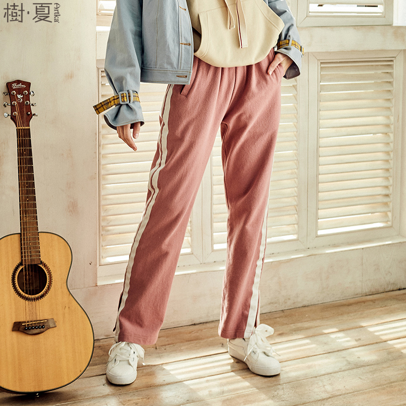 Artka 2018 New Summer Sporty Striped Elastic High Waist All-match Casual Loose Wide Leg Pants ZA10180C new summer japanese sen female line all match foundation elastic waist denim jeans wide leg pants