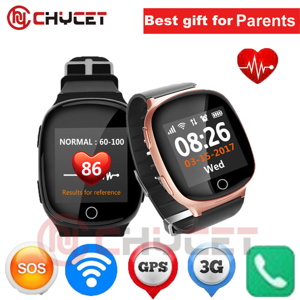 цена на D100 Elderly Smart Watch Heart monitor With fall-down alarm function Anti-lost Gps+Lbs+Wifi Tracking for iOS Android pk D99 Q100