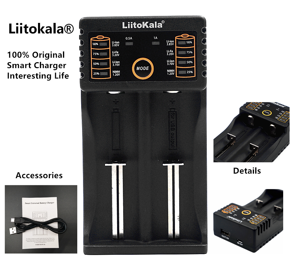 LiitoKala Lii-202 18650 Battery Charger Lii202 For 1.2V/3.7V/AA/AAA/18650/26650/14500/16340/17500/NiMH Rechargeable Batteries liitokala lii 100b 18650 battery charger for 26650 16340 cr123 lifepo4 1 2v ni mh ni cd rechareable battery no 5v output