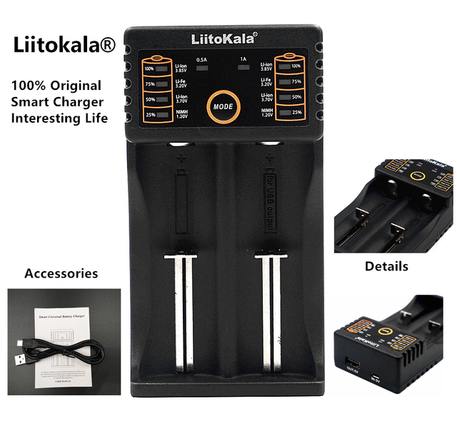 LiitoKala Lii-202 18650 Battery Charger Lii202 For 1.2V/3.7V/AA/AAA/18650/26650/14500/16340/17500/NiMH Rechargeable Batteries