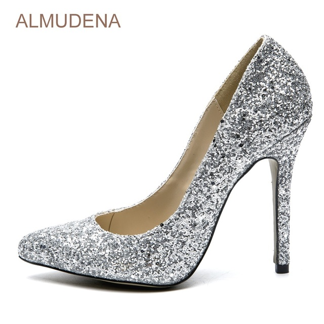 ALMUDENA Young Ladies Silver Bling Bling Wedding Shoes Glittering ...