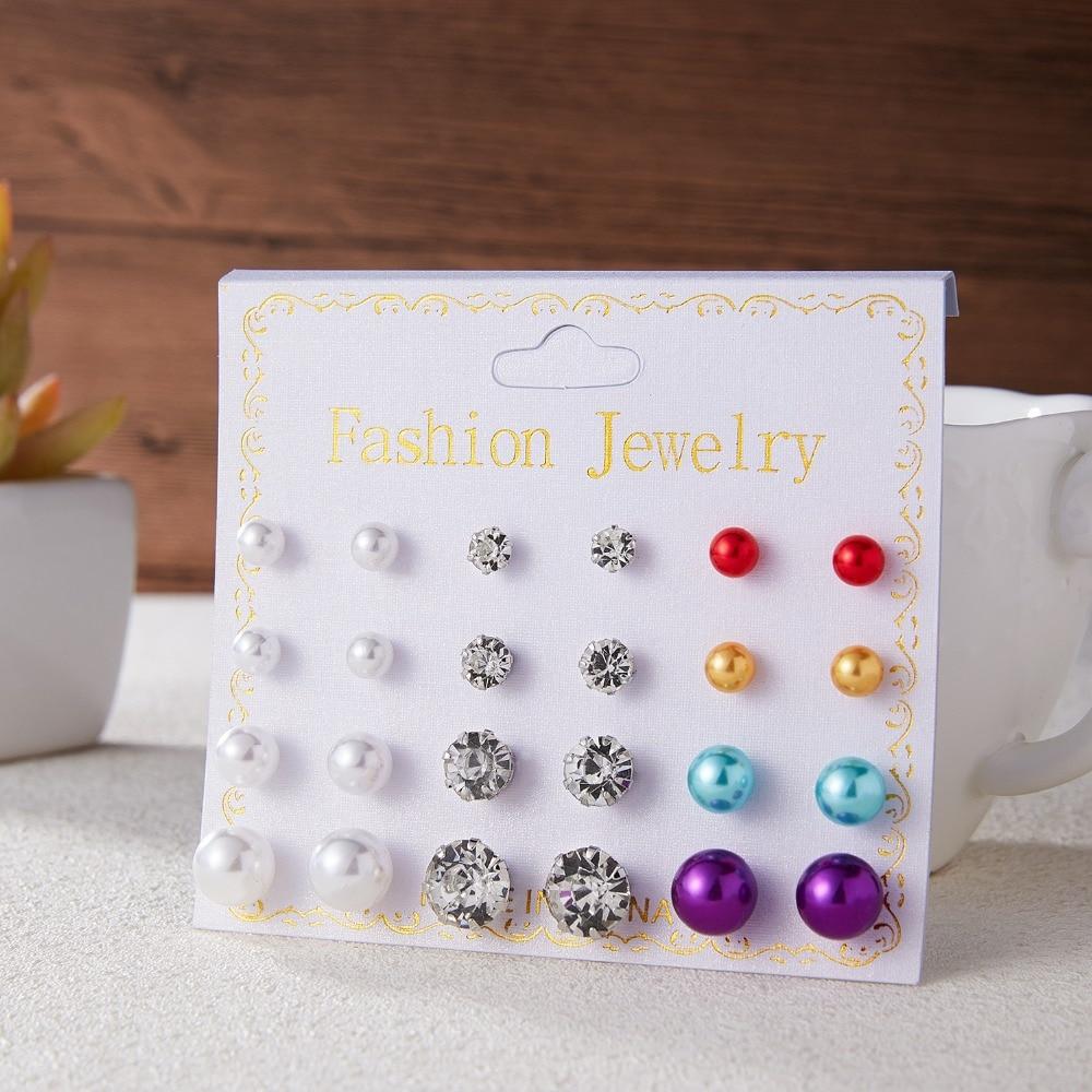 12 Pairs/set Stud Earrings Set With Card Transparent Zircon Balls Love Flowers Earrings Women Imulated Pearl Earrings Jewelry 6