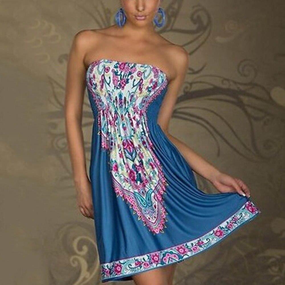 Verano de las mujeres atractivas mini dress casual floral bandeau beach boho max
