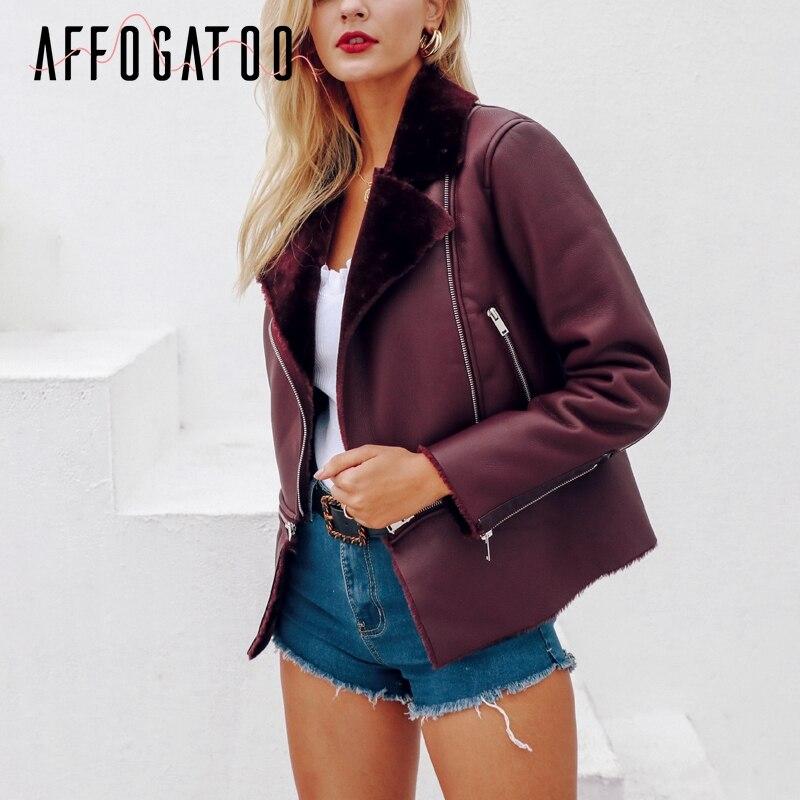 Affogatoo Plus size PU jacket   leather   women Zipper pockets thick winter coat office lady   leather   jacket outwear streetwear 2018