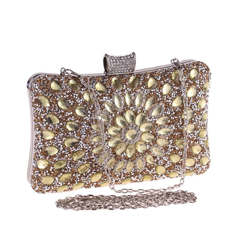 Crystal Women Pearl Beaded Golden/Blue/Silver Evening Metal Clutches Bag Wedding Party Prom Bridal Handbag Purse Banquet