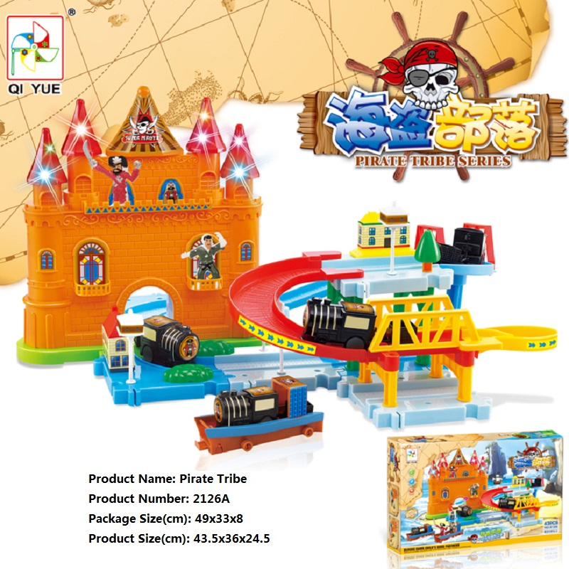 ФОТО Pirate Tribe DIY Track Electric Train Building Block Toy Birthday Gift Learning&Educational Toys For Chilren 2126A Withno Box