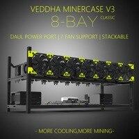 Профессиональный Veddha V3C8 GPU Ферма для майнинга алюминиевый сплав Штабелируемый чехол до 8 GPU Открытый Воздушный каркас кронштейн