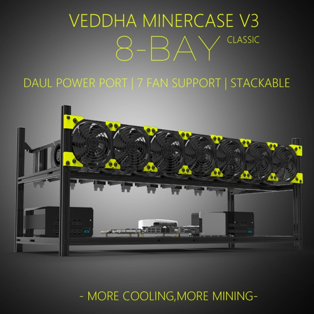 Professional Veddha V3C8 GPU Mining Rig Aluminum Alloy Stackable Case Up To 8 GPU Open Air Frame Rack Bracket