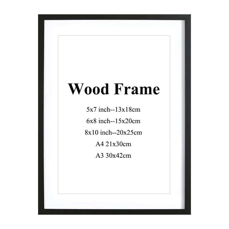 Wooden-Frame Picture Wall-Mounting Pink-Color Black White A4 A3 With Mats Solid For Hardware