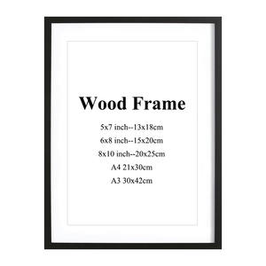 Wooden-Frame Mats Hardware Picture Wall-Mounting Pink-Color Black White Simple A3 A4