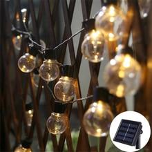 цены Solar Powered 10/20/30 LED G50 Clear Ball String Lights Solar Garden Backyard Holiday Christmas Wedding Party Globe Bulb Light