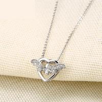 Fashion New Korean Necklaces for woman With Heart shaped Pendant And Geometrically Movable Stone Necklaces LW18