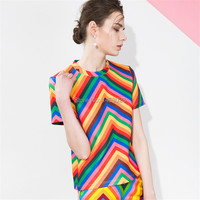 Trendy Rainbow Striped Women T Shirts Casual O Neck Short Sleeve Multi color Printing Tshirts Summer Women Tops Clearance 2019