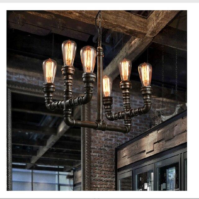 Loft Vintage Retro Wrought Iron Black Pipe Chandelier Pulley Lamps E27 Edison Pendant Lamp Home Light Fixtures